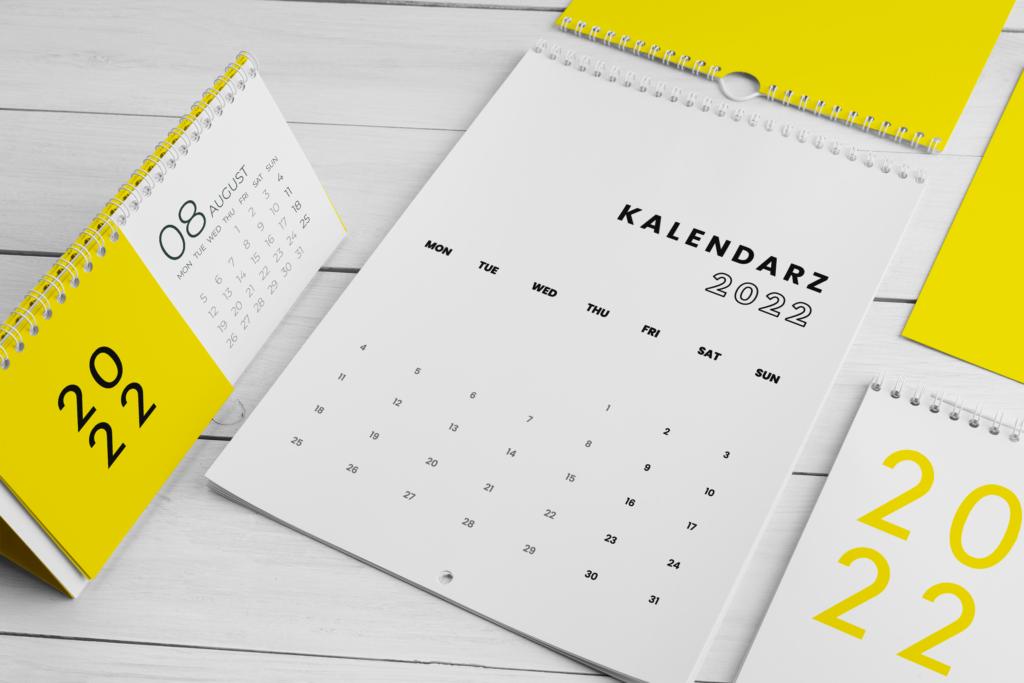 Projekt kalendarzy różne rodzaje